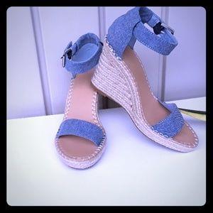 Nautica Espadrille Blue Wedge Sandals